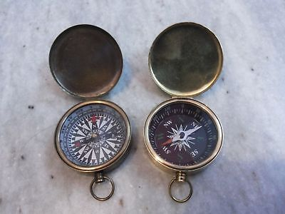 Nautical Vintage Brass Marine Pocket Lid Compass Gift Set Of Two