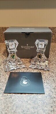 """WATERFORD CRYSTAL LISMORE Giftology 4"""" Candlesticks Candle Holders - NIB - $179"""
