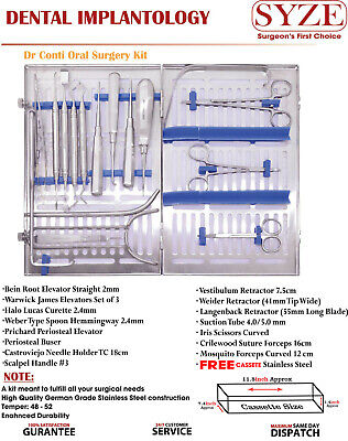 Dental Implantology Oral Surgery Kit 17 Pcs, Surgical Placement Instruments SYZE