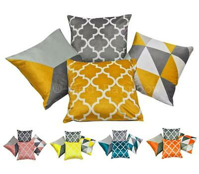 "Collection of 4 Grey Geometric Design 18"" Cushion Covers ® Red Rainbow"