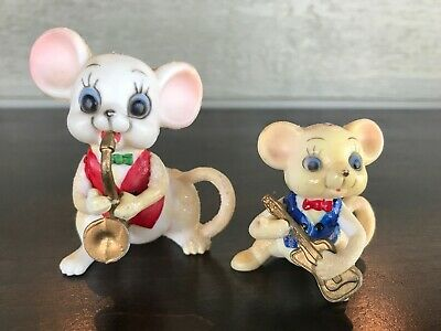 Lot of 2 Vintage Hard Plastic Christmas Mice Mouse Band Saxophone Guitar