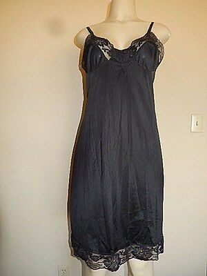 Full Slip Vintage Kayser SEXY Black NYLON LACY Size 36 Great Fined