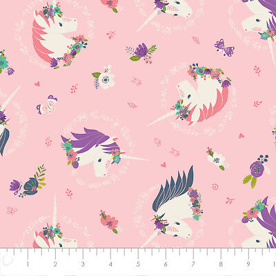 Fabric 100% Cotton Camelot I Believe In Unicorns Pink 61170606-1