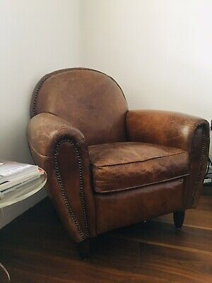 brown leather armchair used