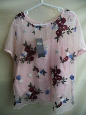 Hollister Nightie Pink Floral Embroidered Poly Adj Straps Womans XS NWT MSRP $35