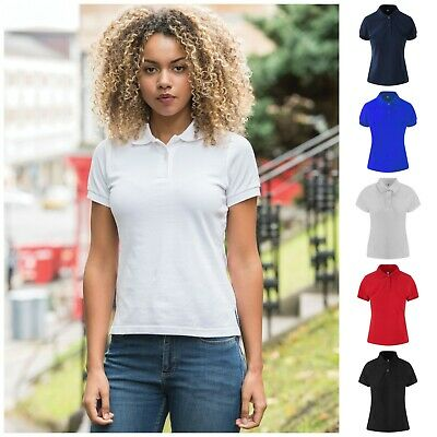 Ladies Girls Short Sleeve Stretch Polo Shirt Slim Fit Fitted Top Cotton T-Shirt
