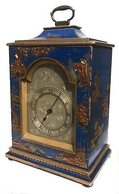 Chinoiserie Bracket Mantel Clock Hand Painted Blue And Gold With Engraved Dial
