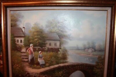 """Oil Painting 1986 Signed Ben Harris, Cottage Lake geese girls 29"""" x 25"""" Canvas"""