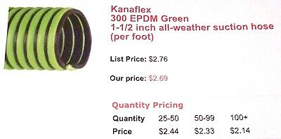"""1-1/2"""" ID Kanaflex 300 EPDM Green Septic & Water Suction/Discharge Hose"""