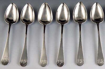 Rare Late 1700's-Early 1800's Joseph Rice Coin Silver Tea/Coffee Spoons (6)