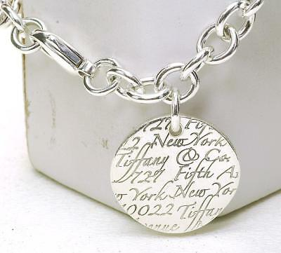 0b41120fd Tiffany & Co. Notes New York Fifth Ave Round Tag Charm Bracelet Sterling  Silver