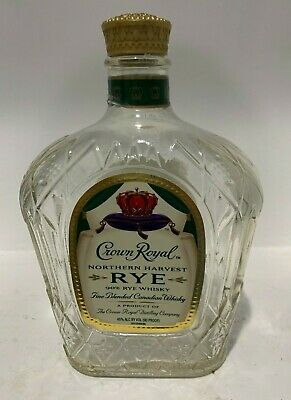 Empty Bottle Beautiful Glass Crown Royal Northern Harvest Rye Whisky