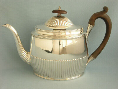 Grosse Elegante Teekanne London 1795 Massiv Sterlingsilber 1,2 Liter