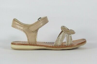 NOEL Enfant Sixty beige leather girl's sandal with knot design and gold detail