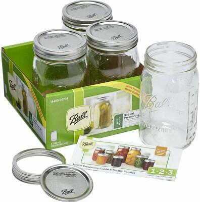 4 Pack Ball Mason Jars Signature Preserving 945ml Wide Mouth With Recipe Insert