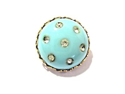Blue Celluloid With Rhinestones Small Miniature Round Pin Vintage