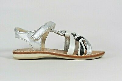 NOEL Enfant Strass metallic silver, white and zebra print leather girl's sandal