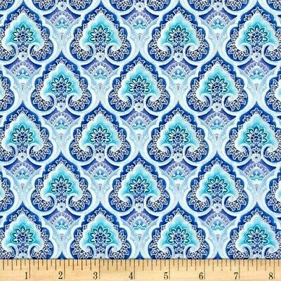 COTTON F//Q CRAFT FABRIC BLUE TIMELESS TREASURES SILVER SPARKLY FROSTY FERNS