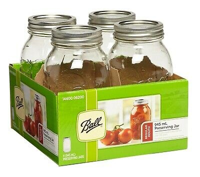 4 Pack Ball Mason Signature Preserving Jars 945Ml Regular Mouth With Recipe Inse
