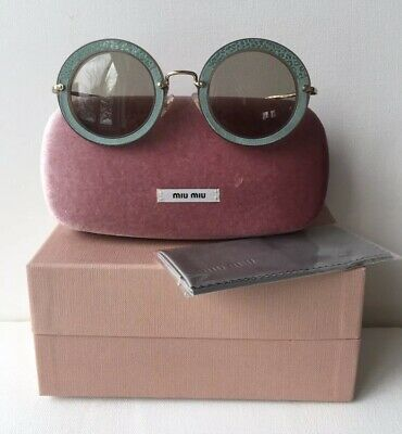 dd568969cd9d New Miu Miu Women's Green Suede Sunglasses with case Round 08R U6S-5J2 49mm