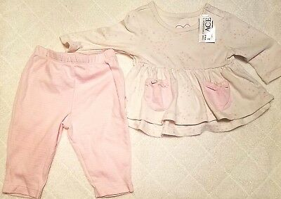 The Childrens Place Shirt Pants Size 0-3 mo 2 Piece Infant Girls Long Sleeve