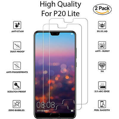 New For Huawei P20 Lite Tempered Glass Screen Protector Full Protection 2 Pack
