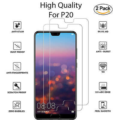 New For Huawei P20 Tempered Glass Screen Protector Full Protection 2 Pack