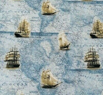 Red Vintage Nautical Ship Craft Cotton Fabric Shabby Chic Fabric Sewing Compass