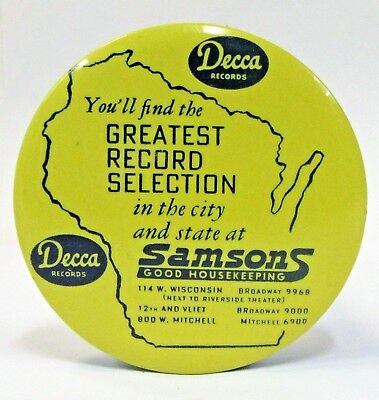 DECCA SAMSON'S WISCONSIN advertising celluloid record cleaner brush ^