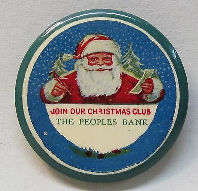 circa 1915 JOIN OUR CHRISTMAS CLUB The People Bank SANTA CLAUS pocket mirror *