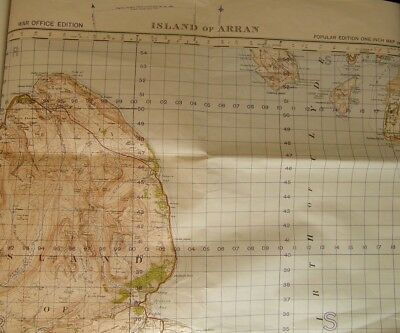 "Island of Arran - Ordnance Survey of Scotland 1"" Map. War Office 1949 Edition."
