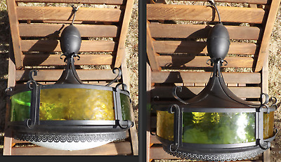 Pull Down Hanging Ceiling Lamp Mid Century Hollywood Regency Green Yellow Vtg