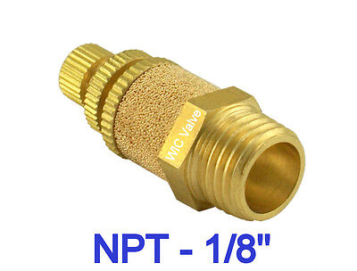 "Brass Flow Control Silencer NPT 1/8"" Pneumatic Air Exhaust Muffler Fitting 5pcs"
