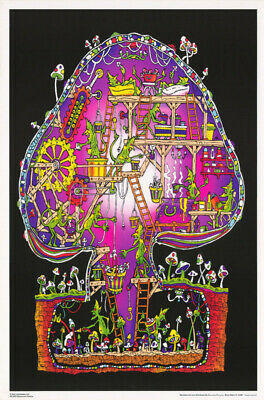 Lot Of 2 Posters:marijuana Theme: Mushroom Factory - Blacklight #Fl3294S  Rp68 V