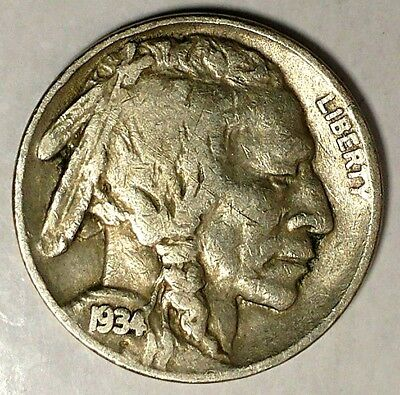 "1934-P 5C Buffalo Nickel,18lcl1104 ""Only 50 Cents for Shipping"""