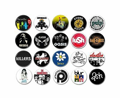 Indie, Brit pop buttons (badges, pins, alternative, tees, tshirt, band patches)