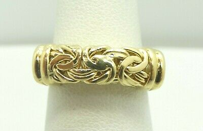 18K Yellow Gold 5.4mm Byzantine Ring Size 6.25 4.9 Grams D7422