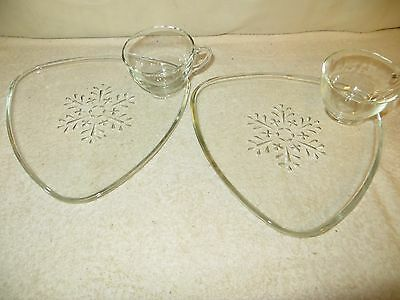 """2 Vtg Indiana Glass """"Snowflake"""" Clear Snack Sets - Mid-Century Atomic Triangle-b"""
