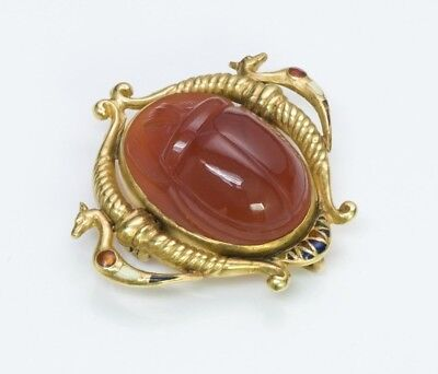 Antique Egyptian Revival Gold Carnelian Enamel Scarab Beetle Brooch Pendant