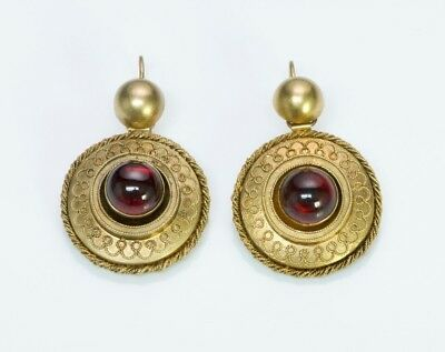 Antique Victorian Etruscan 14K Yellow Gold Garnet Earrings