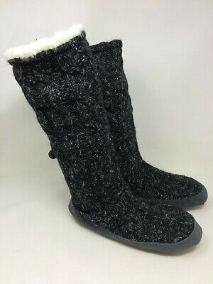 New!! Women's OP Muk Luks Black Knit Tall Sock slipper 16O