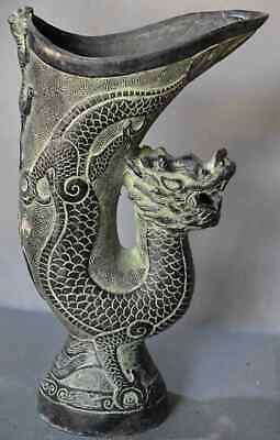 China Ancient Collectable Old Bronze Carve Dragon & Lizard Royal Emperor Use Cup