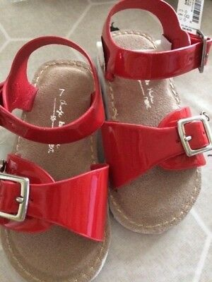 NEXT Girls Red Summer Sandals Size Infant 4 Beach Holiday Glossy Red Star First