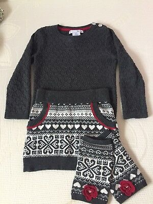 Girls 2-3 years winter outfit - Skirt, Jumper, Leg Warmers Grey Red Nula Bug