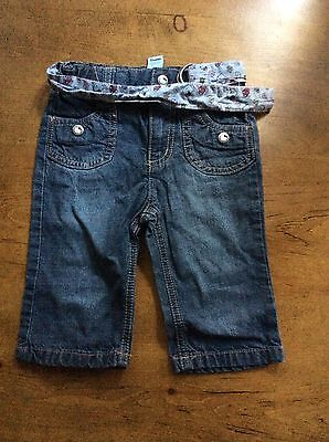 H & M Baby Girls Hello Kitty Jeans 6/9 Months... 100% Cotton With Tie Belt...