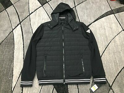 NEW MENS GUESS Los Angeles Ribbed Hooded Sport Jacket Size