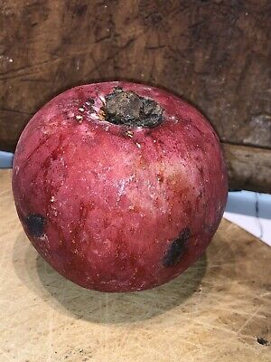Early Antique Italian Alabaster Stone Fruit Rare Red Persimmon Black Bruises
