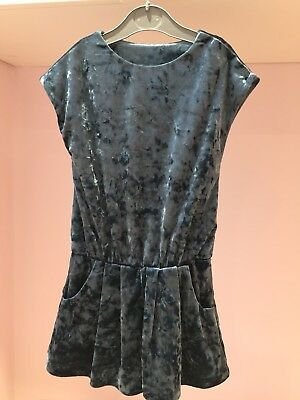 Worn Once Next Girls Playsuit Size 3 Years Dark Teal Crushed Velvet With Pockets
