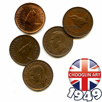(x5) 1949 British Bronze GEORGE VI FARTHING Coins, 70 Years Old!