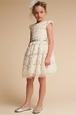 02227accd95 Anthropologie BHLDN Halabaloo Sz 4 Ivory Metallic ROSETTE Lace Flower Girl